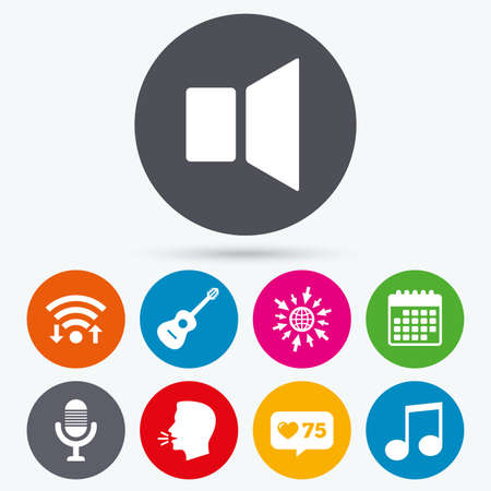 Wifi, like counter and calendar icons. Musical elements icons. Microphone and Sound speaker symbols. Music note and acoustic guitar signs. Human talk, go to web. Иллюстрация