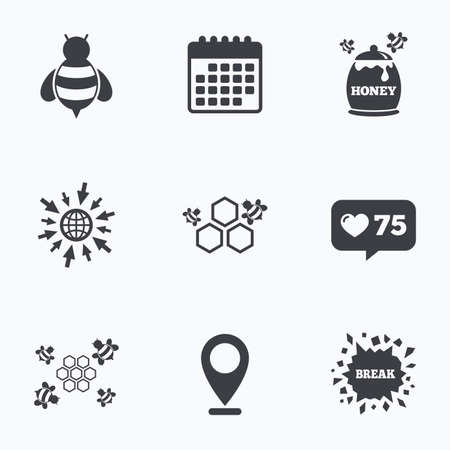 honeycomb like: Calendar, like counter and go to web icons. Honey icon. Honeycomb cells with bees symbol. Sweet natural food signs. Location pointer. Illustration