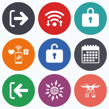 sign out: Wifi, mobile payments and drones icons. Login and Logout icons. Sign in or Sign out symbols. Lock icon. Calendar symbol.