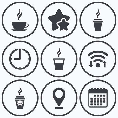 take away: Clock, wifi and stars icons. Coffee cup icon. Hot drinks glasses symbols. Take away or take-out tea beverage signs. Calendar symbol.