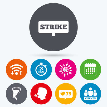 bad weather: Wifi, like counter and calendar icons. Strike icon. Storm bad weather and group of people signs. Delayed flight symbol. Human talk, go to web.