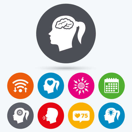 button icons: Wifi, like counter and calendar icons. Head with brain and idea lamp bulb icons. Female woman think symbols. Cogwheel gears signs. Love heart. Human talk, go to web.