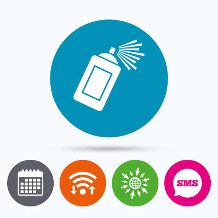 paint can: Wifi, Sms and calendar icons. Graffiti spray can sign icon. Aerosol paint symbol. Go to web globe.