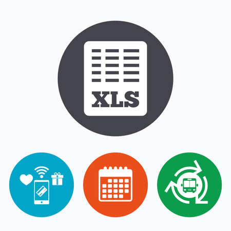 xls: Excel file document icon. Download xls button. XLS file symbol. Mobile payments, calendar and wifi icons. Bus shuttle.