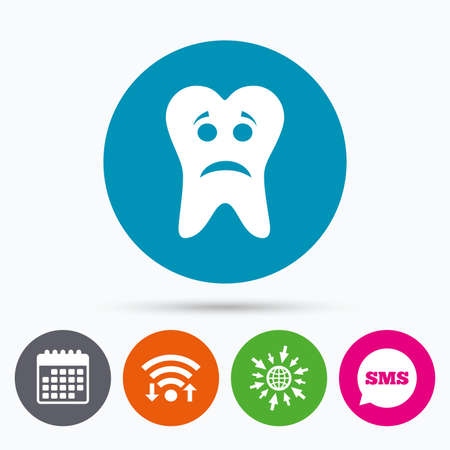 aching: Wifi, Sms and calendar icons. Tooth sad face sign icon. Aching tooth symbol. Unhealthy teeth. Go to web globe. Illustration