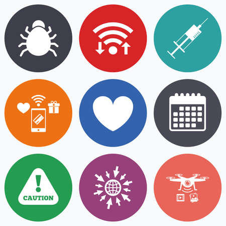 immunity: Wifi, mobile payments and drones icons. Bug and vaccine syringe injection icons. Heart and caution with exclamation sign symbols. Calendar symbol.
