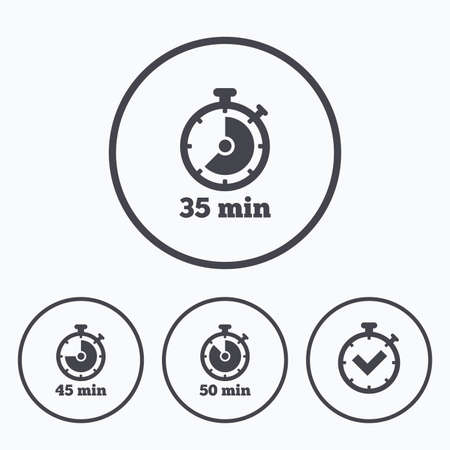 45 50: Timer icons. 35, 45 and 50 minutes stopwatch symbols. Check or Tick mark. Icons in circles. Illustration
