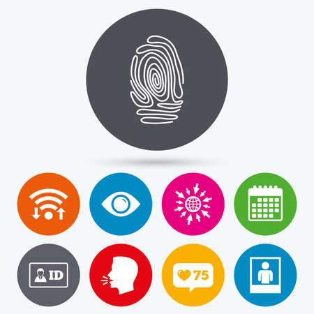 authentication: Wifi, like counter and calendar icons. Identity ID card badge icons. Eye and fingerprint symbols. Authentication signs. Photo frame with human person. Human talk, go to web. Illustration