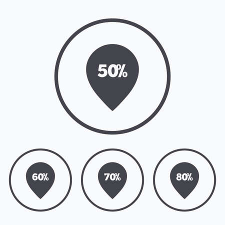 50 to 60: Sale pointer tag icons. Discount special offer symbols. 50%, 60%, 70% and 80% percent discount signs. Icons in circles.
