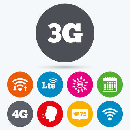 long term: Wifi, like counter and calendar icons. Mobile telecommunications icons. 3G, 4G and LTE technology symbols.Wireless and Long-Term evolution signs. Human talk, go to web.