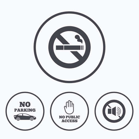 private access: Stop smoking and no sound signs. Private territory parking or public access. Cigarette and hand symbol. Icons in circles.