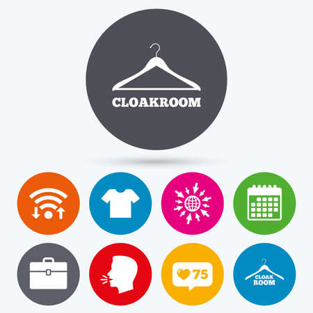 counter top: Wifi, like counter and calendar icons. Cloakroom icons. Hanger wardrobe signs. T-shirt clothes and baggage symbols. Human talk, go to web.