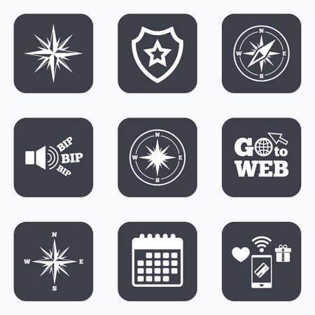 coordinate: Mobile payments, wifi and calendar icons. Windrose navigation icons. Compass symbols. Coordinate system sign. Go to web symbol. Illustration