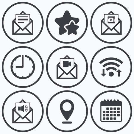 voice mail: Clock, wifi and stars icons. Mail envelope icons. Message document symbols. Video and Audio voice message signs. Calendar symbol. Illustration