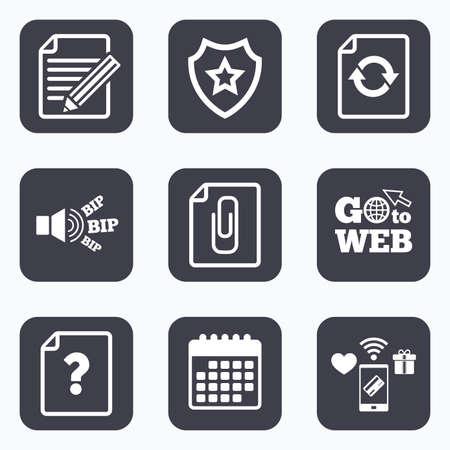 attach: Los pagos móviles, WiFi y calendario iconos. Presentar iconos de actualización. ayuda pregunta y lápiz de edición de símbolos. Clip de papel adjuntar señal. Ir a la web símbolo. Vectores