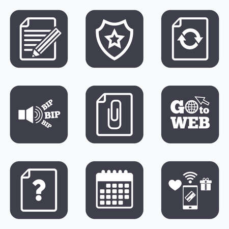 attach: Mobile payments, wifi and calendar icons. File refresh icons. Question help and pencil edit symbols. Paper clip attach sign. Go to web symbol.