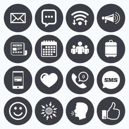 symbol: Wifi, calendario e pagamenti mobili. Mail, news icone. Conferenza, come e segni di gruppo. E-mail, chat simboli messaggio e telefonata. Sms fumetto, andare a simboli web. Vettoriali