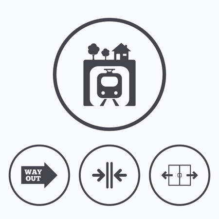 way out: Underground metro train icon. Automatic door symbol. Way out arrow sign. Icons in circles. Illustration