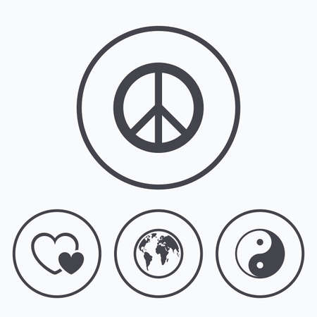 love icon: World globe icon. Ying yang sign. Hearts love sign. Peace hope. Harmony and balance symbol. Icons in circles.