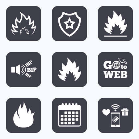 inflammable: Mobile payments, wifi and calendar icons. Fire flame icons. Heat symbols. Inflammable signs. Go to web symbol. Illustration