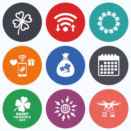 quatrefoil: Wifi, mobile payments and drones icons. Saint Patrick day icons. Money bag with clover sign. Wreath of quatrefoil clovers. Symbol of good luck. Calendar symbol. Illustration