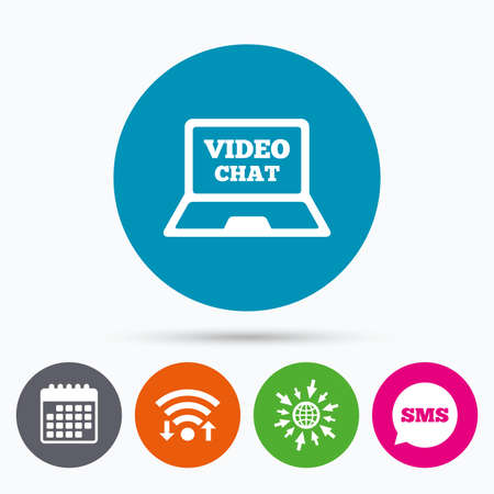 video chat: Wifi, Sms and calendar icons. Video chat laptop sign icon. Web communication symbol. Website video talk. Go to web globe. Illustration