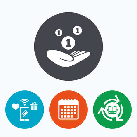endowment: Donation hand sign icon. Hand holds coins. Charity or endowment symbol. Human helping hand palm. Mobile payments, calendar and wifi icons. Bus shuttle. Illustration