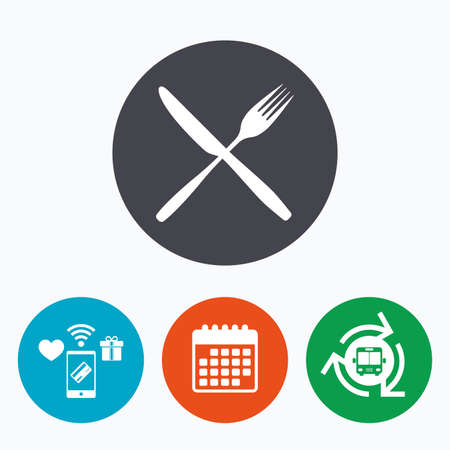 crosswise: Eat sign icon. Cutlery symbol. Fork and knife crosswise. Mobile payments, calendar and wifi icons. Bus shuttle.