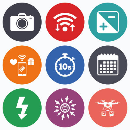 seconds: Wifi, mobile payments and drones icons. Photo camera icon. Flash light and exposure symbols. Stopwatch timer 10 seconds sign. Calendar symbol.