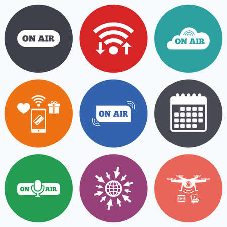 live on air: Wifi, mobile payments and drones icons. On air icons. Live stream signs. Microphone symbol. Calendar symbol. Illustration