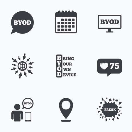 カウンターのようなカレンダー、web アイコンに進みます。BYOD アイコン。ノート パソコンとスマート フォンの兆候と人間。音声バブルの象徴。場所のポインター。