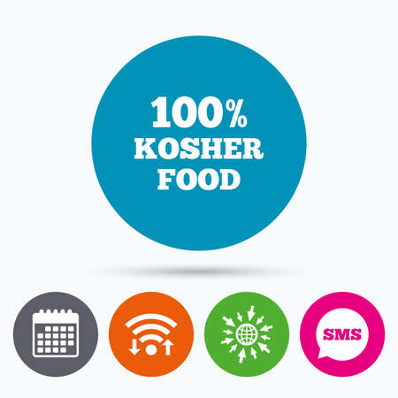 kosher: Wifi, Sms and calendar icons. 100% Kosher food product sign icon. Go to web globe.