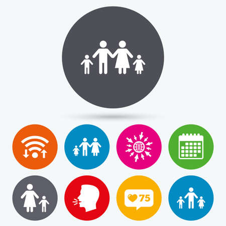 family with two children: Wifi, like counter and calendar icons. Family with two children icon. Parents and kids symbols. One-parent family signs. Mother and father divorce. Human talk, go to web.