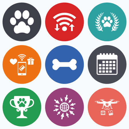 pet: Wifi, mobile payments and drones icons. Pets icons. Dog paw sign. Winner laurel wreath and cup symbol. Pets food. Calendar symbol.