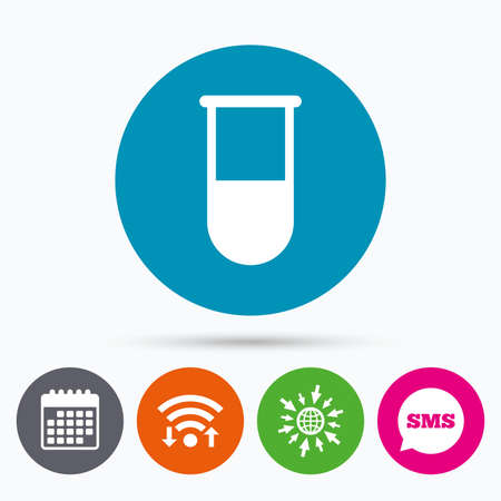 test tube: Wifi, Sms and calendar icons. Medical test tube sign icon. Laboratory equipment symbol. Go to web globe.