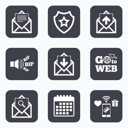 webmail: Mobile payments, wifi and calendar icons. Mail envelope icons. Find message document symbol. Post office letter signs. Inbox and outbox message icons. Go to web symbol.