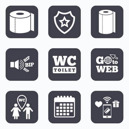 gents: Mobile payments, wifi and calendar icons. Toilet paper icons. Gents and ladies room signs. Paper towel or kitchen roll. Man and woman symbols. Go to web symbol.