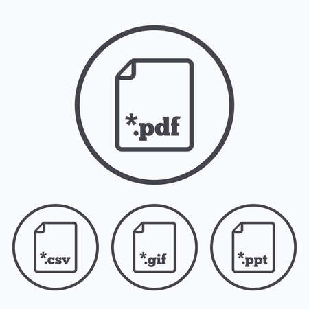 Download document icons. File extensions symbols. PDF, GIF, CSV and PPT presentation signs. Icons in circles. Ilustrace