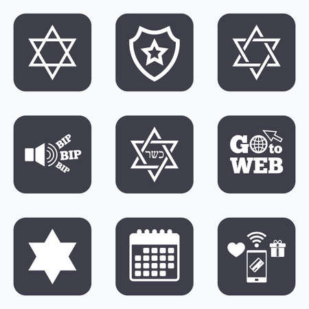 Mobile payments, wifi and calendar icons. Star of David sign icons. Symbol of Israel. Go to web symbol.