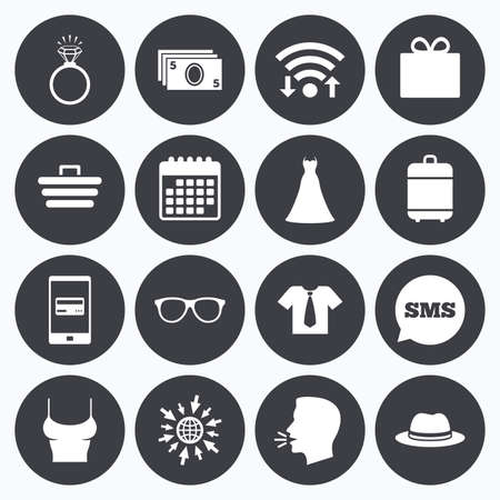 mobile accessories: Wifi, calendar and mobile payments. Accessories, clothes icons. Shirt with tie, glasses signs. Dress and engagement ring symbols. Sms speech bubble, go to web symbols. Illustration