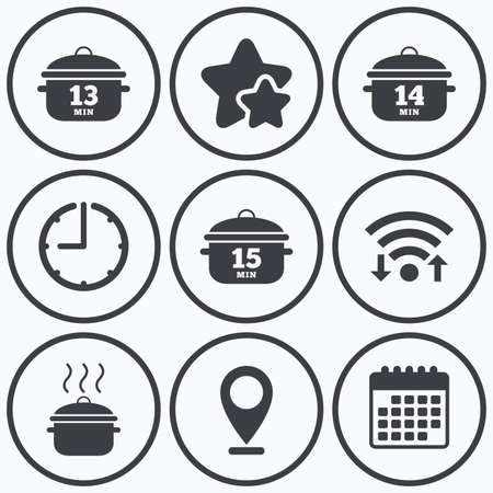 boil: Clock, wifi and stars icons. Cooking pan icons. Boil 13, 14 and 15 minutes signs. Stew food symbol. Calendar symbol.