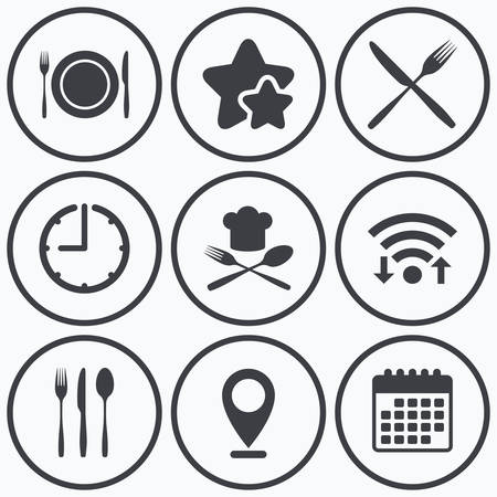 etiquette: Clock, wifi and stars icons. Plate dish with forks and knifes icons. Chief hat sign. Crosswise cutlery symbol. Dining etiquette. Calendar symbol. Illustration