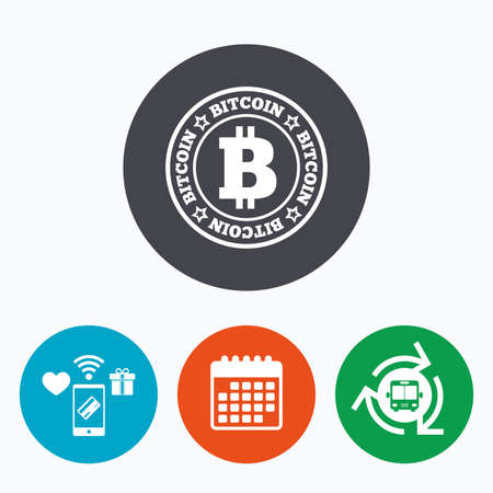 cryptography: Bitcoin sign icon. Cryptography currency symbol. P2P. Mobile payments, calendar and wifi icons. Bus shuttle.