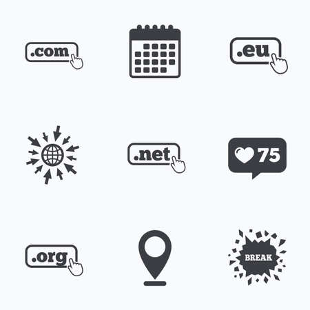 dns: Calendar, like counter and go to web icons. Top-level internet domain icons. Com, Eu, Net and Org symbols with hand pointer. Unique DNS names. Location pointer. Illustration