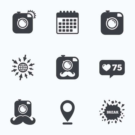 hair pins: Calendar, like counter and go to web icons. Hipster photo camera with mustache icons. Retro camera symbols. Location pointer.