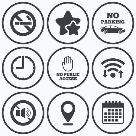 private access: Clock, wifi and stars icons. Stop smoking and no sound signs. Private territory parking or public access. Cigarette and hand symbol. Calendar symbol. Illustration