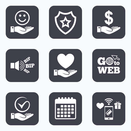 tick symbol: Mobile payments, wifi and calendar icons. Smile and hand icon. Heart and Tick or Check symbol. Palm holds Dollar currency sign. Go to web symbol.