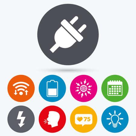 Kalender, Wie Zähler Und Gehen Sie Zu Web-Icons. Elektro-Stecker ...