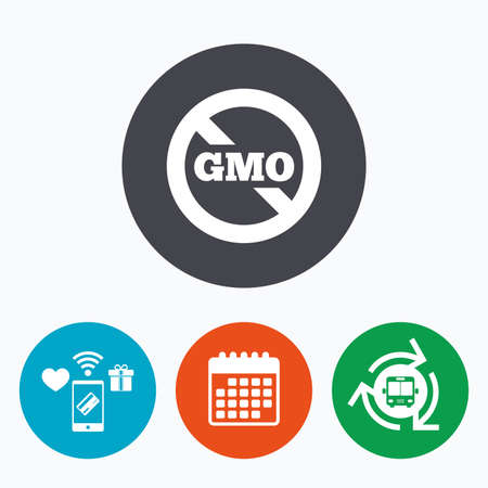 gmo: No GMO sign icon. Without Genetically modified food. Stop GMO. Mobile payments, calendar and wifi icons. Bus shuttle.