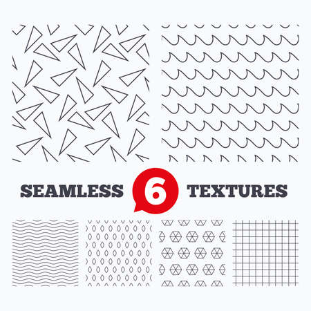 texturing: Waves and geometry design. Waves, triangles and squares seamless textures. Linear geometric pattern. Modern textures. Material patterns.